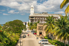 House of Wonders in Stone Town, Zanzibar City, Tanzania. STONE TOWN, ZANZIBAR - OCTOBER 24, 2014: House of Wonders or Palace of Wonders (in Arabic: Beit-al-Ajaib Stock Image