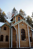 House in wood. The wooden house in a winter wood Stock Photography