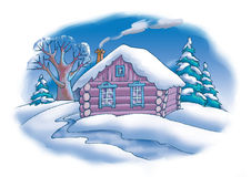 The house in a wood. The wooden house in a winter wood Stock Images