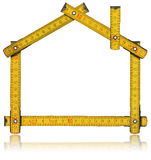 House - Wood Meter Tool. Wooden yellow meter tool forming a house with reflection on white background vector illustration