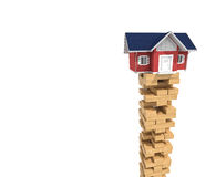 House on wood tower block Royalty Free Stock Photos
