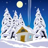House in wood in winter Stock Photography