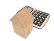 House of wooden building blocks with calculator Stock Images