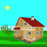 House wooden on a sunny day Royalty Free Stock Photos