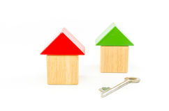 House wooden toy blocks with key isolated on Stock Image