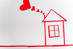 House on wooden white background with red hearts. The concept of. Valentine`s Day Stock Photography