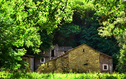 House in the woods. Group of old stone houses Royalty Free Stock Images