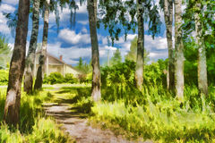 House in the woods- digital painting watercolor. Impressionism- the path to an apartment house in the woods Royalty Free Stock Photography
