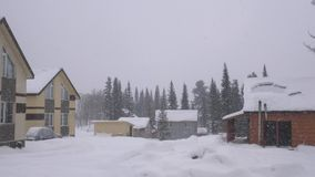 House in the woods in the mountains at winter weather. Nature in winter during heavy snowfall. Landscape panorama. slow stock video footage