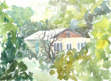 House in the woods in summer. watercolor illustration Royalty Free Stock Photography