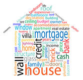 House word cloud. An abstract house word cloud in a house figure Royalty Free Stock Images
