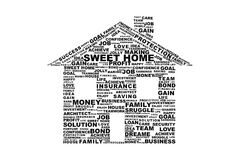 House wordcloud. A Sweet model House  With word cloud  in White Background Royalty Free Stock Images