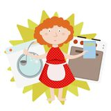 House work and household, everyday housekeeping, woman cooking and laundering, isolated Stock Image