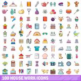 100 house work icons set, cartoon style. 100 house work icons set. Cartoon illustration of 100 house work vector icons isolated on white background royalty free illustration