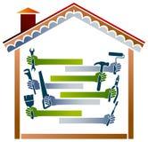 House work. Illustrated house work logo design on isolated white background Royalty Free Stock Images
