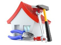 House with work tools. Isolated on white background Stock Photos