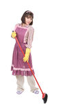 House working. Young adult woman doing housework. over white background stock image