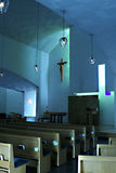House of Worship. Interior of St. Ignatius chapel seattle university washington christ crucifix lights contemporary building stock image