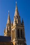 House of Worship. The two spires ontop of St. Peter's Cathedral in Adelaide, South Australia Royalty Free Stock Photo