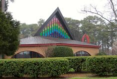 House of Worship with Beautiful Stained Glass Window Stock Photography
