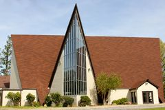 House of Worship with Tall Glass Arching Royalty Free Stock Photo