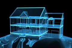 House xray blue transparent. House 3D xray blue transparent Stock Photo