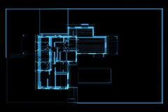 House xray blue transparent. House 3D xray blue transparent Stock Photography