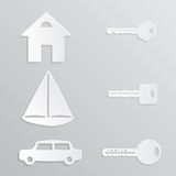 House Yacht Car Key Paper-cut royalty free stock photo