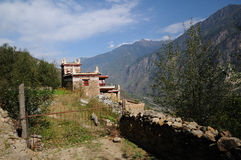 House and yard in Jiaju Tibetan Village Stock Images