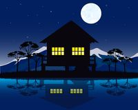 House beside yard Royalty Free Stock Images
