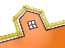 House from yard stick on white background . Royalty Free Stock Image