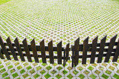 House yard with wooden fence Royalty Free Stock Photography