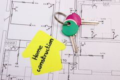 House of yellow paper with text home construction and keys, construction drawing Stock Photos
