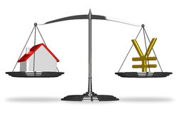 House and yuan sign on scales Royalty Free Stock Photos