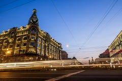 House Zinger on Nevsky Prospekt in St. Petersburg at night illum Stock Images