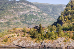 Housea in mountains. Landscape with Houses in mountains, Norway Royalty Free Stock Photo