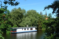Houseboat. In old harbor of Stade, Germany royalty free stock photography