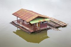 Houseboat. Building houseboat on the lake in Thailand Royalty Free Stock Photos