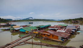 Houseboat. Building houseboat on the lake in Thailand Royalty Free Stock Image