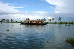 Houseboat. In Kumarakom lake resort in kerala India with blue sky background Royalty Free Stock Photography