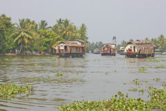 Houseboat in backwater of Kerala Stock Photo