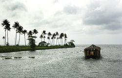 Houseboat in backwater of Kerala, India Stock Photo