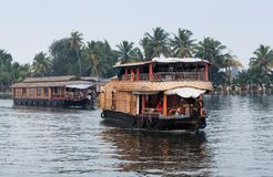Houseboat on backwaters in Kerala, India Royalty Free Stock Photography