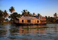 Houseboat on backwaters in Kerala, India Stock Photo