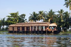 Houseboat on backwaters in Kerala, South India Royalty Free Stock Image
