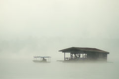 Houseboat. The bamboo houseboat floating in the river Stock Photography