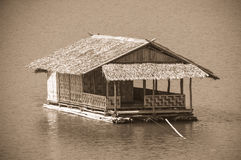 Houseboat. The bamboo houseboat floating in the river Stock Photos
