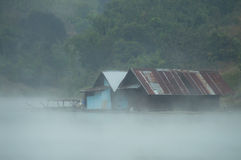 Houseboat. The bamboo houseboat floating in the river Royalty Free Stock Photography