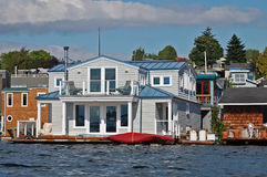 Houseboat with blue roof Royalty Free Stock Image