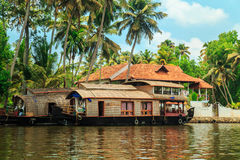 Houseboat on the canals of Alleppey. Houseboat on the canals of Alleppey, Kerala state, South India. Travel Asia Stock Photography